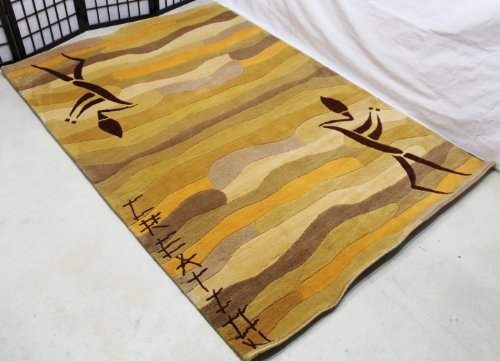 (R490 Gorgeous Bold Stripe Custom Made Tibetan Woolen Area Rug 4.7 Feet X 6.7 Feet Made in Nepal)