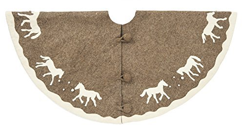 Arcadia Home TF1G Horse Christmas Tree Skirt, Natural