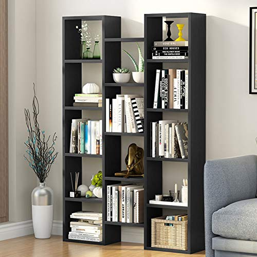 Tribesigns Modern Bookcase, 5-Shelf Storage Organizer Bookshelf with 14-Cube Display Book Shelf for Home Office, Living Room and Bedroom (Black) (Curvy Bookshelf)