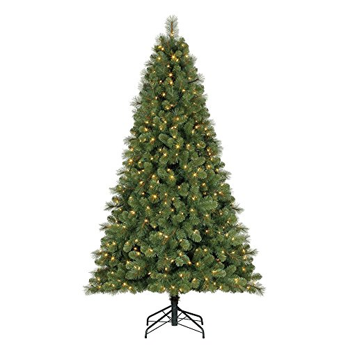 Home Heritage 9' Artificial Cascade Pine Christmas Tree w Color Changing - Pine Christmas Trees