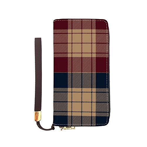 Leather Long Wallet Plaid Handbag With Coin Pocket Removable Wristlet Strap