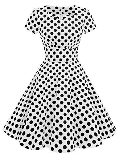 Swing Dresses Prom 1950s White Audery Vintage Short Sleeved DRESSTELLS Dot Black Color Solid Retro Dress gwBpWngTx
