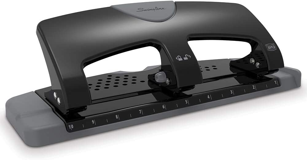 Swingline 3 Hole Punch, Hole Puncher, SmartTouch, 20 Sheet Punch Capacity, Low Force, Black/Gray (74133)