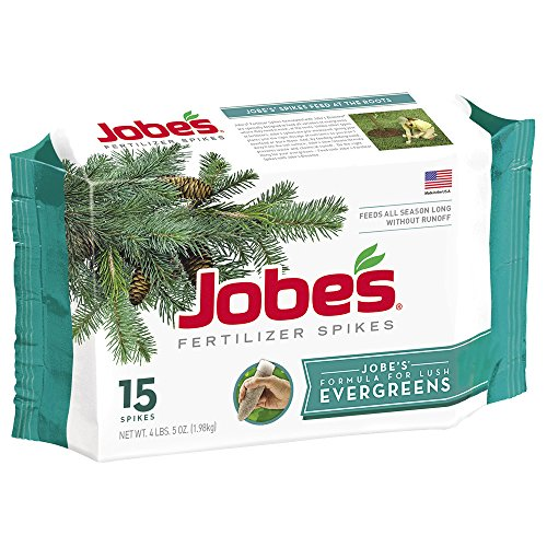 Jobes Evergreen Fertilizer Spikes 13-3-4 Time Release Fertilizer for Juniper, Spruce, Cypress and All Other Evergreen Trees, 15 Spikes per Package