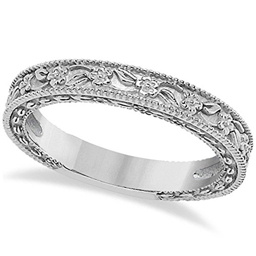 - Carved Floral Designed Wedding Band Stackable Anniversary Ring in 14K White Gold