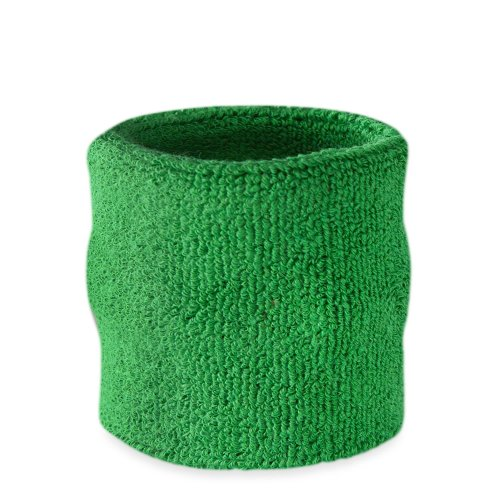 Suddora Wrist Sweatband - Athletic Cotton Terry Cloth Wristband for Sports (Green)(1 Piece) (Stb Baseball)