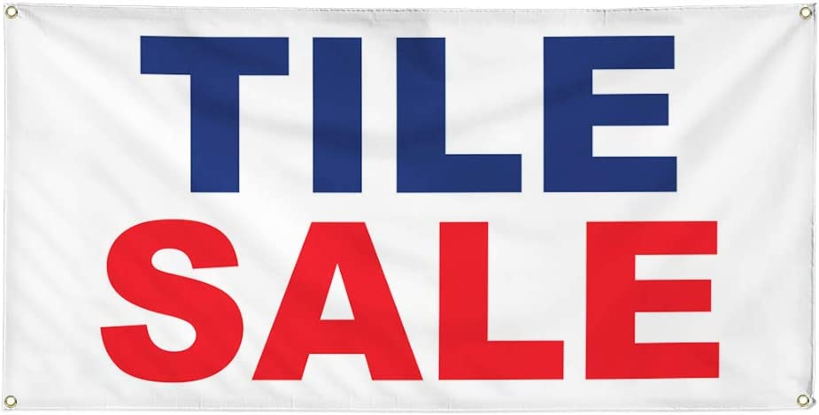 Vinyl Banner Multiple Sizes Tile Sale Blue Red Business Outdoor Weatherproof Industrial Yard Signs 10 Grommets 60x144Inches