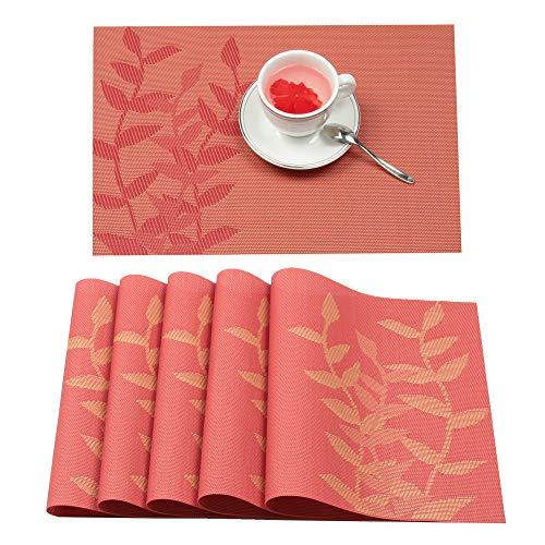 Furnily Placemats Set of 6 Heat-resistant PVC Placemats for Dining Table Leaf Woven Vinyl Stain Resistant Washable Table Mats (6, Red)