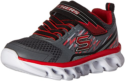 Skechers Kids Boys' Hypno-Flash-Tremblers Light up Loafer,Charcoal/Red,1 M US Little Kid