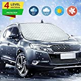 Zmoon Car Windshield Snow Cover, Car Windshield Snow Ice Cover with Magnetic Edges,Thicker 4 Layers Protection,Snow,Ice,UV,Frost Defense,Extra Large Windshield Winter Cover Fits Most Cars and SUV