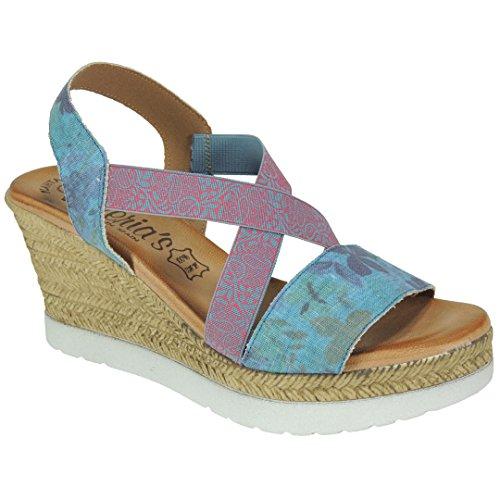 VALERIAS - Sandalia Elásticos Cruzados Cuña 8Cm - Modelo 3061 Jeans