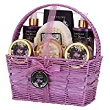 SWEETLOVE Spa Gift Basket for Women Bath and Body Gift Set for her Luxury 8 PieceLily & Lilac ScentBest Gift for Mother's Day Birthday Christmas