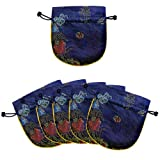Silky Dragon Phoenix Calligraphy Embroidered Drawstring Jewelry Pouch (Set of 6) - Royal Blue