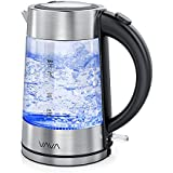 VAVA VA-EE019 Electric, 1.7L Glass Tea, Fast Boiling and Cordless Water Kettle with LED Indicator Light, 100% Stainless Steel Inner Lid & Bottom, Dry Protection(BPA-Free, ETL/FDA Approved)