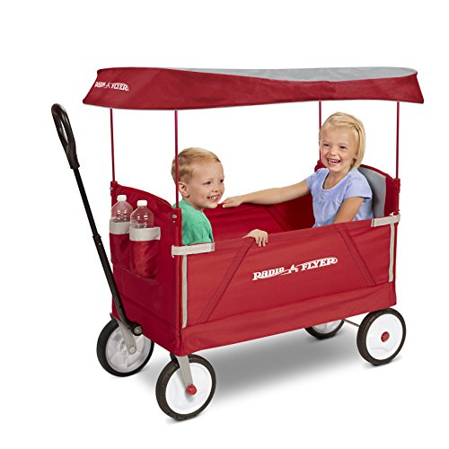 51a N1rZjEL - Radio Flyer 3-In-1 EZ Folding Wagon with Canopy for kids and cargo