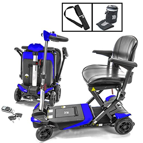 Transformer Automatic Foldable Lithium Powered Travel Scooter BLUE + Cane & Cup Holder