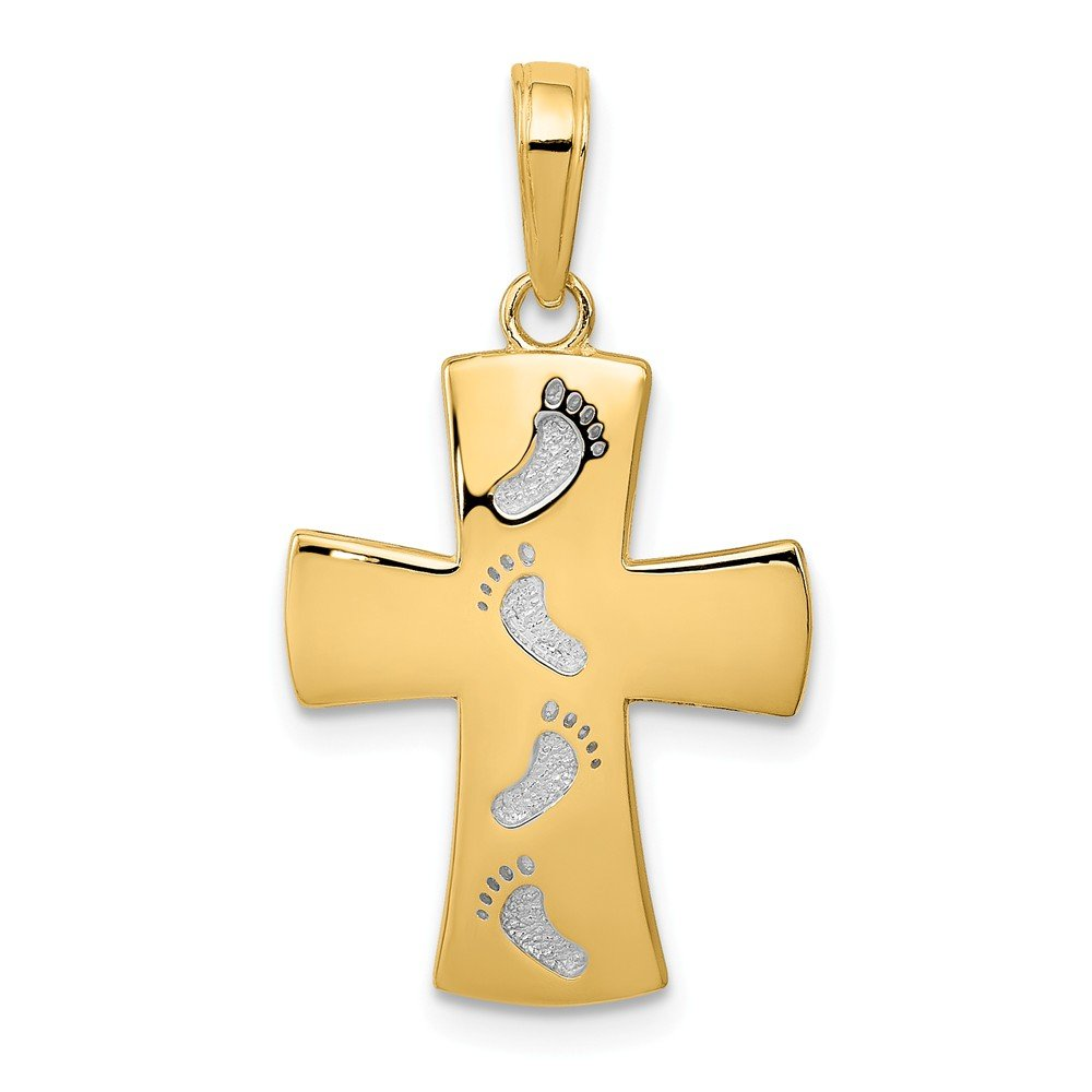 14k Yellow with White Rhodium Two-tone Gold Footprints Cross Pendant