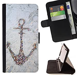 King Air - Premium PU Leather Wallet Case with Card Slots, Cash Compartment and Detachable Wrist Strap FOR Samsung Galaxy S4 IV I9500 i9508 i959- Anchor Boat Pattern