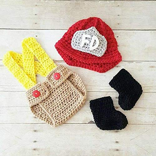 Crochet Baby Fireman Firefighter Set Hat Helmet Beanie Diaper Cover Overalls Boots Shoes Infant Newborn Photography Photo Prop Shower -