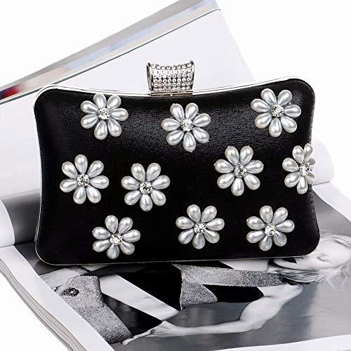 Black Blume Flower Dinner caisehua Abendtasche A b Perlen Farbe Bag aqFtx8