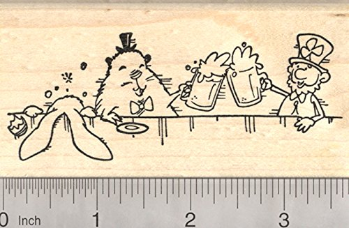 Drinking Leprechaun, Groundhog, Easter Bunny Rubber Stamp, St. Patrick's Day Party Scene by RubberHedgehog