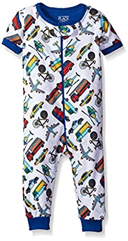 The Children's Place Baby Boys' Short Sleeve One-Piece Pajamas, White 81675, 9-12MOS - Baby Boy Pajamas