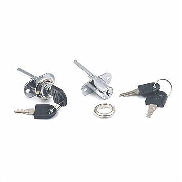 Juego de cerradura + 2 llaves para muebles con cajones, disponible en 1, 2 o 5 unidades, 16 mm