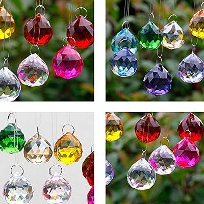 H&D HYALINE & DORA Multi-Color 30mm Chandelier Crystal Ball Prisms Drops Wedding Decorations, Natural Color, Pack of 12 : Garden & Outdoor
