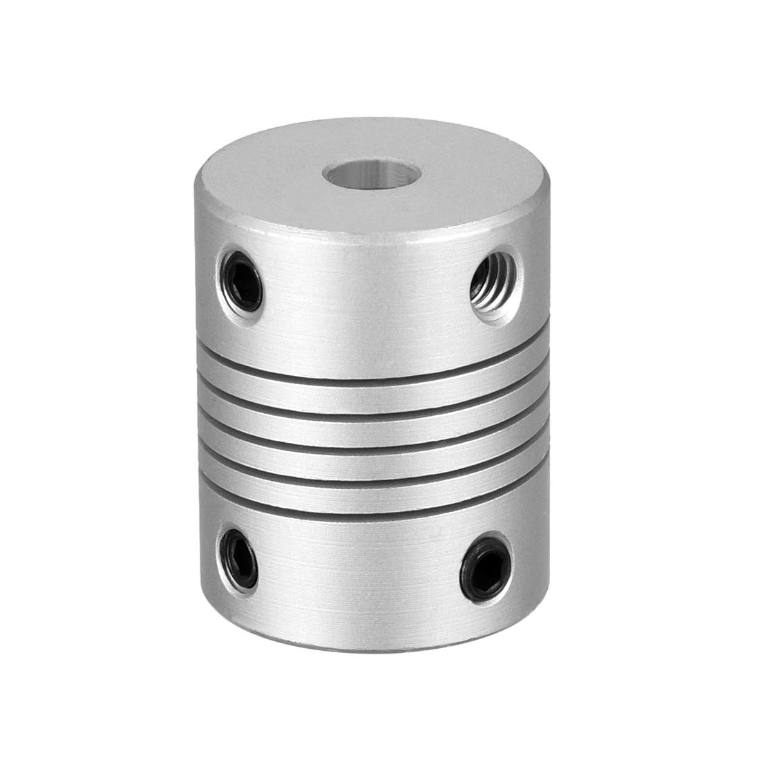 sourcing map 6.35mm to 8mm Aluminum Alloy Shaft Coupling Flexible Coupler Motor Connector Joint L25xD19 Silver
