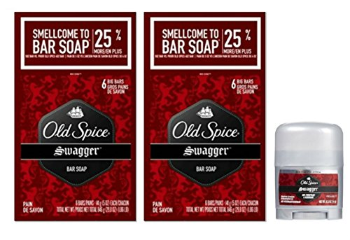 Swagger Old Spice Bar Soap 12 Pack with Bonus Trial Size Swagger Deodorant