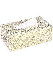 KINGFOM Rectangular PU Leather Facial Tissue Box Napkin Holder for Home Office, Car Automotive Decoration(Gold Decorative Pattern)