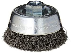 Bosch WB524 3 1/2-Inch Crimped Carbon Steel Cup Brush, 5/8-Inch x 11 Thread Arbor