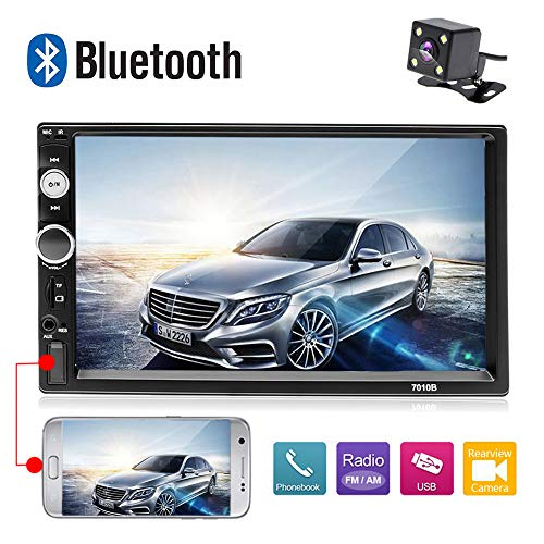 """AMprime 7010B Car Stereo Bluetooth 1080P 7"""" Touch Screen 2 Din Radio MP5 Player Mirror Link for Android Phones FM with SD/USB/AUX-in Input + Backup Camera"""