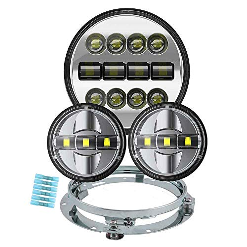 BICYACO Motorcycle 7 Inch LED Headlight Set with 4-1/2 Inch LED Passing Lamps and Bracket Mounting Ring for Harley Davidson Road King Road Glide Street Glide Electra Glide Ultra Limited - Chrome