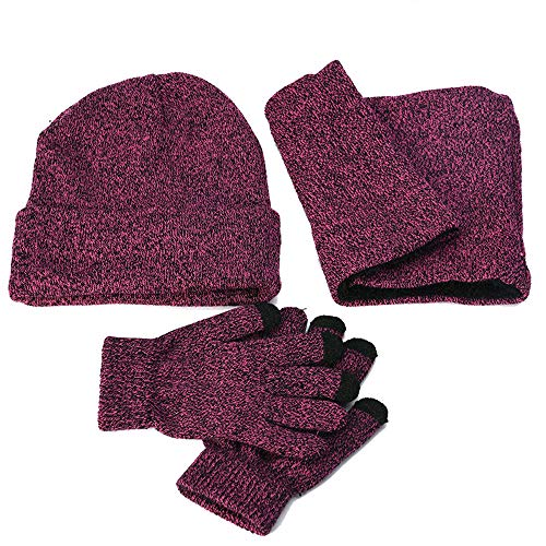 (KFSO Clearance! 3-Pieces Winter Beanie Hat Scarf Gloves Set Warm Knit Hat Thick Knit Skull Cap for Men Women (Hot)