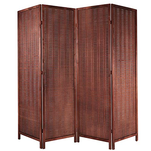 Cocosica Bamboo Room Divider, Folding Privacy Screen with Double Hinge & 4 Panel Room Screen Divider Separator for Decorating Bedding, Dining, Study and Sitting Room(Brown -