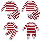puseky Dad Mom Baby Kids Family Matching Christmas Striped Pajamas Set Sleepwear (L, Men)