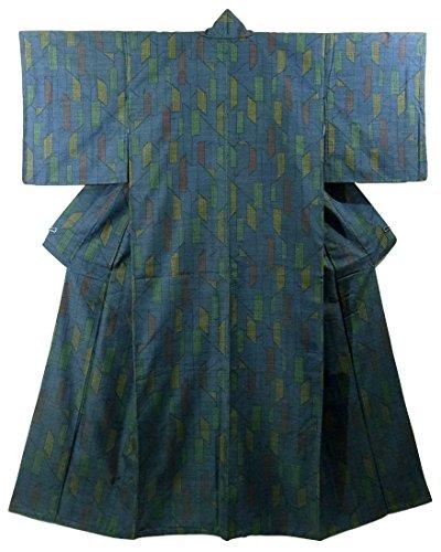 構築するかわいらしい聴覚障害者リサイクル 着物 紬 正絹 袷 幾何学模様 裄65.5cm 身丈165cm