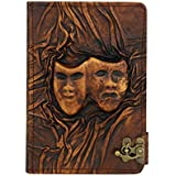 Embossed Happy Sad Drama Mask iPad Mini 4 Case Cover Flip Stand Vintage Real Genuine Leather Hardcov