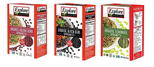 Explore Cuisine Organic Gluten Free Spaghetti 3 Flavor Variety Bundle: (1) Organic Black Bean, (1) Organic Adzuki Bean, and (1) Organic Edamame, 8 Oz Ea
