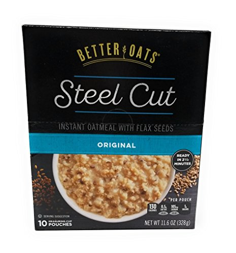 Better Oats Original Steel Cut Instant Oatmeal with Flax - 3 Pack with 10 pouches each