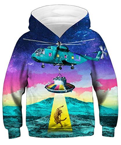 GLUDEAR Kids Printed Animal Galaxy Hooded Pullover Sweatshirt Hoodie Pocket,Alien Cat,6-8 Years