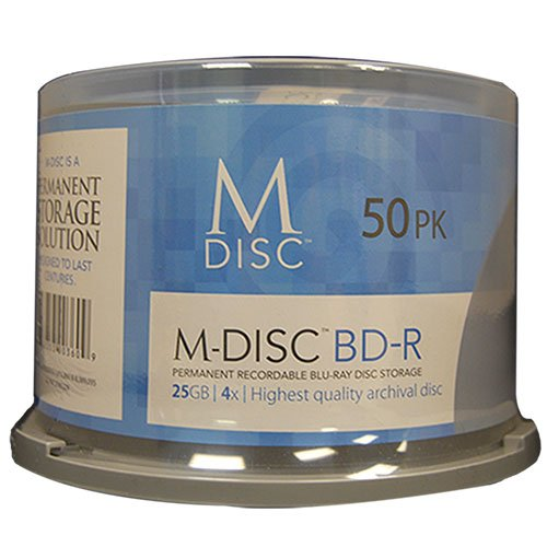 M-DISC 25GB Blu-ray Permanent Data Archival / Backup Blank Disc Media - 50 Pack Cake Box by Produplicator