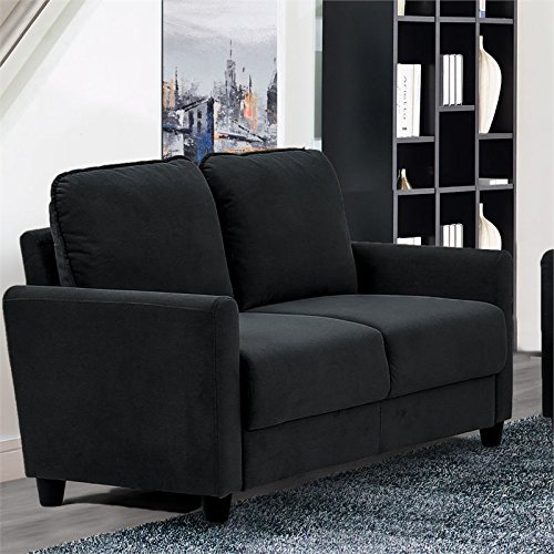 Lifestyle Solutions Scottsdale Loveseat in Black - Microfiber Fabric Upholstered Sofa