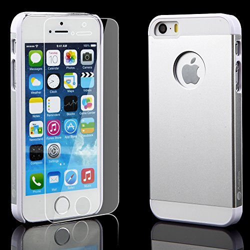 iPhone 5S Case Plus Glass Screen Protector: Amplim® New Luxury Silver Color Hard Aluminum Metal + White Plastic + Soft Silicone Rubber 3-Layer Back Slim Shell (APPLE-PHONE-5-Cover-PROTECTIVE-DUAL-UB)