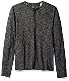 John Varvatos Men's Long Sleeved Henley BKQ7B 012, Charcoal, Large