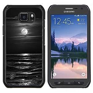 Olas Negro Blanco Luna de la noche- Metal de aluminio y de plástico duro Caja del teléfono - Negro - Samsung Galaxy S6 active / SM-G890 (NOT S6)