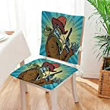 Mikihome Beautiful Chair Cushion Blue Steampunk Western Style Robot Cowboy Makes OK Gesture Petrol Blue and Brown Indoor and Outdoor Cushion Mat:W17 x H17/Backrest:W17 x H36