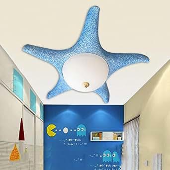 QAZSE Children Cartoon Starfish LED Lights Day Lanterns Mediterranean Style Kindergarten Bedroom Living Room Blue Pink Optional Diameter 660, High 120 (Mm) , 2