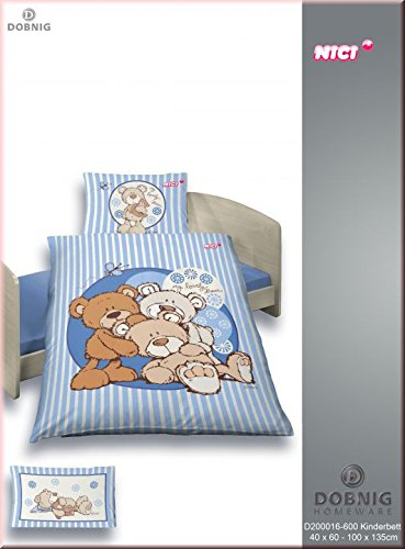 Dobnig Kinder Renforc/é Bettw/äsche 2tlg 100x135 cm NICI B/ären Blau my lovely Bear 200016-600 Kinderbettw/äsche 40x60 cm